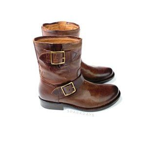 NWT Frye Dark Brown Leather Buckle Boots   6